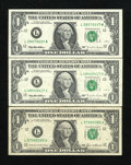 Error Notes:Miscellaneous Errors, Fr. 1913-L $1 1985 Federal Reserve Note. Fine.. Fr. 1922-L $1 1995 Federal Reserve Note. Two Examples. Choice CU and Fine.. ... (Total: 3 notes)