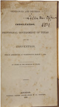 Books, [Texas Revolution] Ordinances and Decrees of the Consultation,Provisional Government of Texas and the Convention, ...