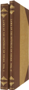 Books, [Texas Republic] Laws of the Republic of Texas, in TwoVolumes. Houston: Printed at the Office o... (Total: 2 Items)