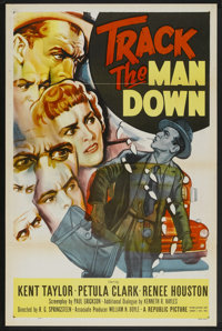 "Track the Man Down (Republic, 1955). One Sheet (27"" X 41"") Flat-Folded. Crime"