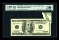 Error Notes:Foldovers, Fr. 2175-B $100 1996 Federal Reserve Note. PMG Choice About Unc 58EPQ.. ...