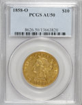 Liberty Eagles: , 1858-O $10 AU50 PCGS. PCGS Population (26/44). NGC Census:(22/104). Mintage: 20,000. Numismedia Wsl. Price for NGC/PCGS co...