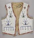 American Indian Art:Beadwork and Quillwork, A SIOUX MAN'S BEADED HIDE VEST. c. 1880...