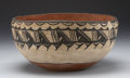 American Indian Art:Pottery, A COCHITI POLYCHROME DOUGH BOWL. c. 1930...