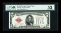 Small Size:Legal Tender Notes, Fr. 1525* $5 1928 Legal Tender Note. PMG About Uncirculated 53.. ...