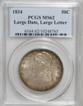 Bust Half Dollars, 1834 50C Large Date, Large Letters MS62 PCGS....