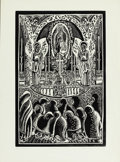 Texas:Early Texas Art - Drawings & Prints, F. ARQUIN (American, 20th Century). Mexican Church.Woodblock on paper. 21-3/4 x 16 inches (55.2 x 40.6 cm). Signedlowe...