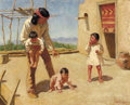 Western:20th Century, JOSEPH HENRY SHARP (American, 1859-1953). Lo the Widower. Oil on canvas. 16-1/2 x 20 inches (41.9 x 50.8 cm). Signed low...