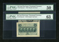 Fractional Currency:First Issue, Fr. 1313SP 50c First Issue Wide Margin Pair PMG Choice Uncirculated 63, PMG About Uncirculated 50.... (Total: 2 notes)