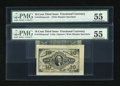 Fractional Currency:Third Issue, Fr. 1251SP/1255SP 10c Third Issue Wide Margin Pair PMG About Uncirculated 55.... (Total: 2 notes)