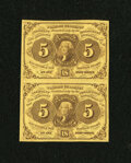 Fractional Currency:First Issue, Fr. 1230 5¢ First Issue Vertical Pair Extremely Fine....