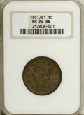 1851/81 1C MS64 Brown NGC. N-3, R.1. Grellman Die State a, with sharp definition on the inverted 18 date digits. This sa...
