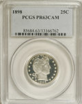 Proof Barber Quarters: , 1898 25C PR63 Cameo PCGS. Deeply reflective with strong contrast between the fathomless mirrors and the boldly impressed, r...