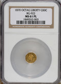 California Fractional Gold: , 1870 50C Liberty Octagonal 50 Cents, BG-922, R.3, MS61 ProoflikeNGC....