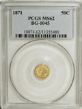 California Fractional Gold: , 1871 50C Liberty Round 50 Cents, BG-1045, R.5, MS62 PCGS. This wellstruck and moderately prooflike chestnut-gold piece has...