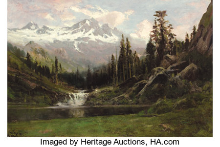 WILLIAM KEITH (American, 1839-1911)View of Mount Shasta, 1891Oil on canvas23 x 32 inches (58.4 x 81.3 cm)Signed ...