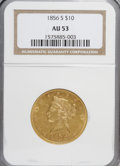 Liberty Eagles: , 1856-S $10 AU53 NGC. NGC Census: (39/98). PCGS Population (23/41).Mintage: 68,000. Numismedia Wsl. Price for NGC/PCGS coin...