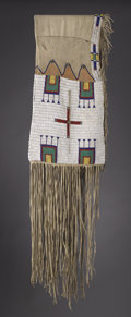American Indian Art:Beadwork and Quillwork, A SIOUX BEADED AND FRINGED DOUBLE SADDLE BAG. c. 1880...