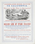 "Antiques:Posters & Prints, Rare ""Overland Mail Route to California"" Stagecoach Line Broadside,Portland, Oregon, 1866...."