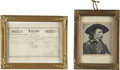 Antiques:Decorative Americana, Two Framed Items: Saloon Certificate and General CusterLithograph.... (Total: 2 Items)