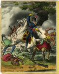 "Antiques:Posters & Prints, Currier [& Ives] ""Death Of Tecumseh. Battle Of The Thames Oct5th 1813."" Hand-Colored Lithograph, 1841...."