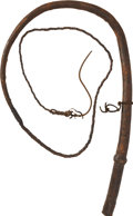 Western Expansion:Cowboy, Leather Braided Bullwhip, circa early 1900s....