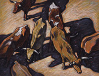 HOWARD E. POST (American, b. 1948) Cattle Pastel on paper 15-1/4 x 19-1/2 inches (38.7 x 49.5 cm)
