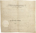 """Autographs:U.S. Presidents, [Texas Republic] John Tyler Texas Republic Consul AppointmentSigned. One partially printed vellum page, 14.5"""" x 12.5"""", Octo..."""