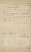 "Autographs:Statesmen, Original Subscription List for the Galveston Fusiliers, 1842. Onepage, two sided, 7.5"" x 12.75"", Galveston, n.d. [1842]. Th..."