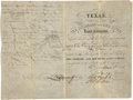 "Miscellaneous:Ephemera, Texas. The Colorado and Red River Land Company Stock Certificate.New York: C.C. Wright & Durand, [1835?]. 10"" x 7.5"". ..."