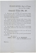 """Autographs:Military Figures, [Texas C.S.A.] Department of Texas General Order No. 37. One page, 5.25"""" x 7.5"""", on pale blue paper, """"Headquar..."""
