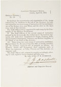 Autographs:Military Figures, Texas C.S.A. Circular: General Orders No. 13, Signed by Adjutant and Inspector General Jeremiah Y. Dashiell. One...