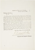 Autographs:Military Figures, Texas C.S.A. Circular: General Orders No. 11, Signed by Adjutant and Inspector General Jeremiah Y. Dashiell. One...