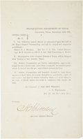 Autographs:Military Figures, Texas C.S.A. Circular: General Orders No. 7, Signed byAssistant Adjutant General C. H. Whittelsey. ...