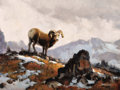Western:20th Century, JAMES ERWIN BOREN (American, 1921-1990). King of the Mountain. Oil on canvas. 18 x 24 inches (45.7 x 61.0 cm). Signed lo...