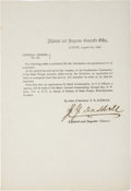 Autographs:Military Figures, Texas C.S.A. Circular: General Orders No. 34, Signed by Adjutant and Inspector General Jeremiah Y. Dashiell. One...