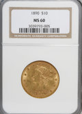 Liberty Eagles: , 1890 $10 MS60 NGC. NGC Census: (64/162). PCGS Population (27/149). Mintage: 57,900. Numismedia Wsl. Price for NGC/PCGS coin...