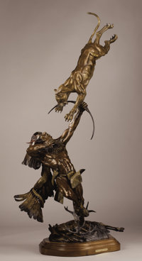 VIC PAYNE (American, b. 1960) When the Hunter Becomes the Hunted, 1999 Bronze with patina and paint<