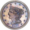 Proof Braided Hair Half Cents, 1857 1/2 C PR64 Brown PCGS....