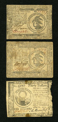 Colonial Notes:Continental Congress Issues, Continental Currency May 10, 1775 $30 About New, edge damage..Continental Currency November 29, 1775 $3 Fine, once mounted.. ...(Total: 3 notes)