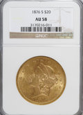 Liberty Double Eagles: , 1876-S $20 AU58 NGC. NGC Census: (2020/1562). PCGS Population(594/1206). Mintage: 1,597,000. Numismedia Wsl. Price for NGC...