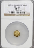 California Fractional Gold: , 1859 50C Liberty Round 50 Cents, BG-1002, High R.4, MS65 NGC. NGCCensus: (6/1). PCGS Population (8/2). (#10831)...