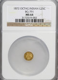 California Fractional Gold: , 1872 25C Indian Octagonal 25 Cents, BG-791, R.3, MS64 NGC. NGCCensus: (14/18). PCGS Population (90/18). (#10618)...