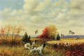 Texas:Early Texas Art - Regionalists, WILLIAM ROBERT THRASHER (American, 1908-1997). Pointers andQuail. Oil on canvas. 24 x 36 inches (61.0 x 91.4 cm). Signe...