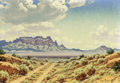 Texas:Early Texas Art - Regionalists, JOSÉ ACEVES (Mexican-born American, 1909-1968). DesertLandscape. Oil on canvas. 17-1/4 x 24 inches (43.8 x 61.0 cm).Si...