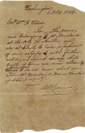 "Autographs:Statesmen, Mirabeau Lamar Autograph Letter Signed, ""M. B. Lamar"". Onepage, 5"" x 7.5"" February 6, 1844, Washington [D.C.], to""Co..."