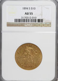 Liberty Eagles: , 1894-S $10 AU55 NGC. NGC Census: (29/49). PCGS Population (19/18). Mintage: 25,000. Numismedia Wsl. Price for NGC/PCGS coin...