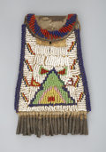 American Indian Art:Beadwork and Quillwork, A SIOUX BEADED HIDE STRIKE-A-LIGHT POUCH. c. 1920...