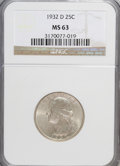 Washington Quarters: , 1932-D 25C MS63 NGC. NGC Census: (216/207). PCGS Population(563/550). Mintage: 436,800. Numismedia Wsl. Price for NGC/PCGS...