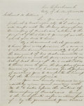 "Autographs:Statesmen, [Texas Republic] Branch T. Archer Letter Signed ""B. T. ArcherSct. of War"". Two and one-half pages, 7.75"" x 10"", April 4..."